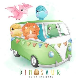 Nette kleine tiere, die ein auto mit aquarellillustration fahren