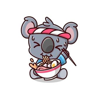 Nette koala, die japanische ausrüstung trägt und sich heiss fühlt, während sie ramen-nudel essen. cartoon mascot.