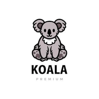 Nette koala-karikaturlogoikonenillustration