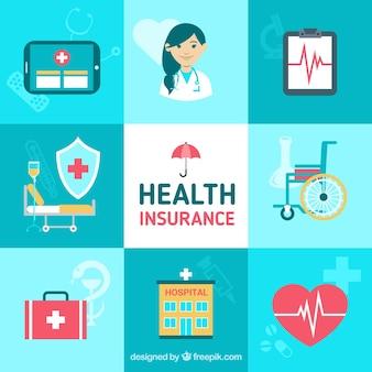 Nette komposition mit krankenversicherungselemente