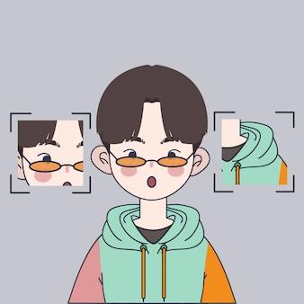 Nette koreanische jungenillustration. hübsche asiatische jungenillustration.