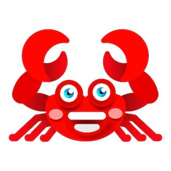 Nette krabbe auf weißer hintergrundvektorillustration