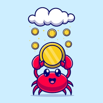 Nette krabbe, die goldmünze-karikatur-vektor-icon-illustration hält. tiergeschäftsikonenkonzept lokalisierter premium-vektor. flacher cartoon-stil