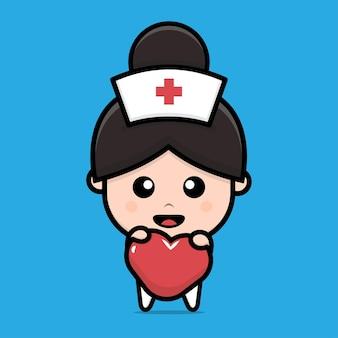 Nette krankenschwester, die herzcharakterillustration hält