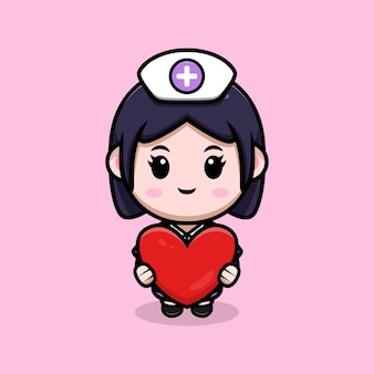 Nette krankenschwester, die herzvektorkawaii-cartoon-charakterillustration hält
