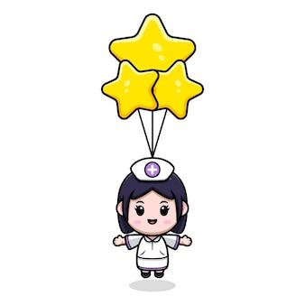 Nette krankenschwester, die mit kawaii zeichentrickfilm-figurillustration des sternballons schwimmt
