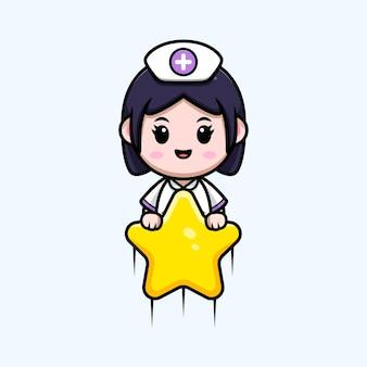 Nette krankenschwester, die mit kawaii zeichentrickfilm-figurillustration des sterns schwimmt