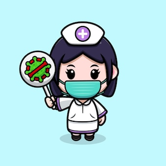 Nette krankenschwester, die stoppviruszeichen kawaii zeichentrickfilm-figur hält