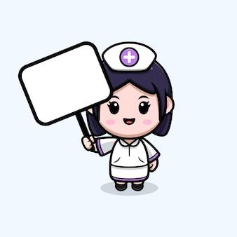 Nette krankenschwester mit kawaii cartoon-charakterillustration des leeren weißen brettes