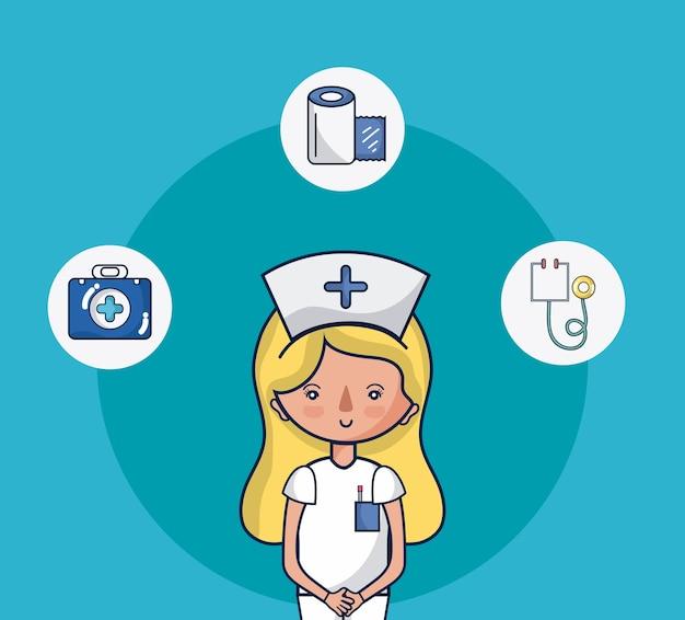 Nette krankenschwesterfrauenkarikatur mit medizinischen symbolen