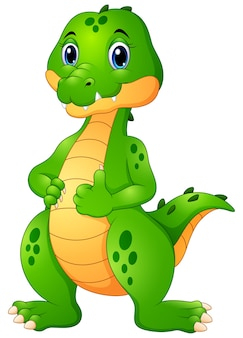 Nette krokodilkarikatur, die daumen aufgibt