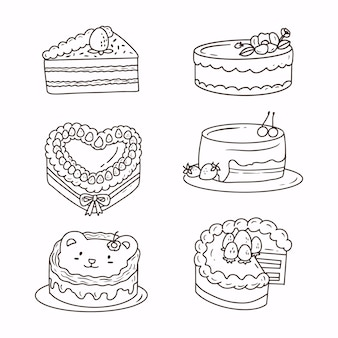 Nette kuchenhandzeichnungs-gekritzelskizzen im weißen hintergrund. satz von kuchen-aufkleber-sammlung strichzeichnungen.