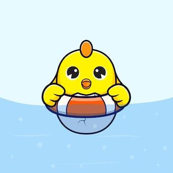 Nette küken, die im wasser schwimmen