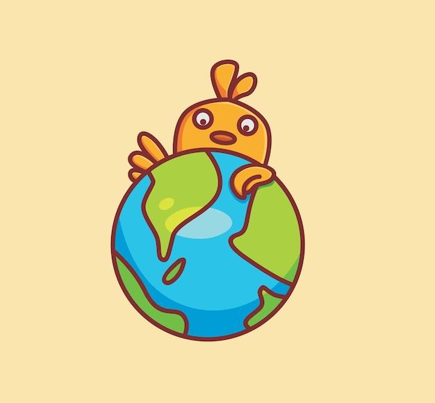 Nette küken umarmen ein globales erdkugelkarikaturtiernaturkonzept isolierte illustration flat