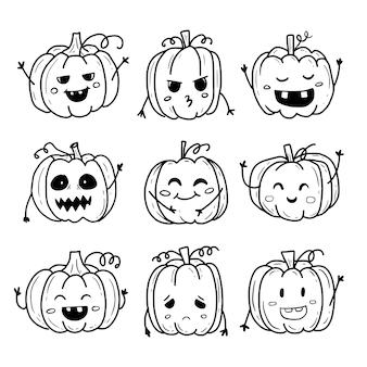 Nette kürbis halloween monster gekritzel set sammlung