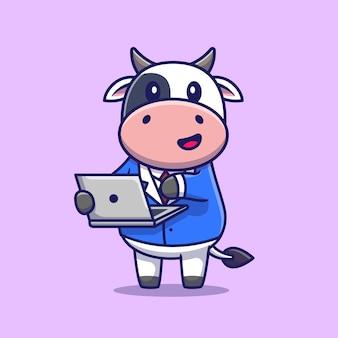 Nette kuh, die auf laptop arbeitet. tiertechnik