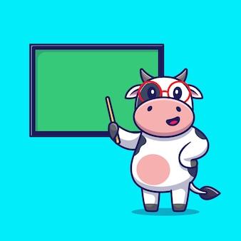 Nette kuh, die mit brettkarikatur lehrt. tierbildungs-symbol-konzept isoliert. flacher cartoon-stil