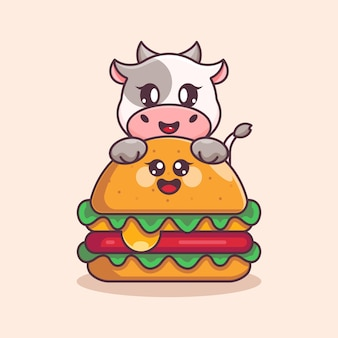 Nette kuh mit großem käseburger-cartoon