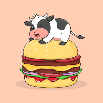 Nette kuh oben auf burger