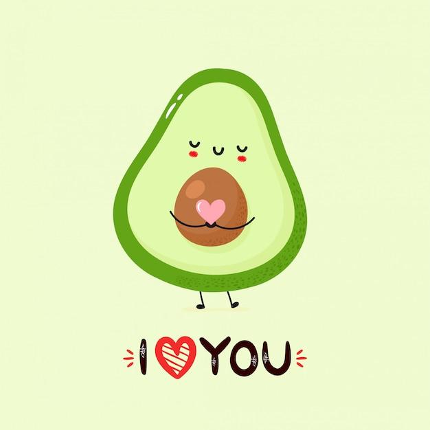 Nette lächelnde avocado-postkarte