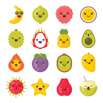 Nette lächelnde exotische früchte, lokalisierter bunter ikonensatz