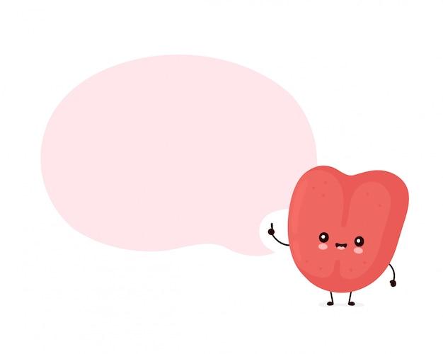 Nette lächelnde glückliche menschliche zunge mit spracheblase. flache comicfigur illustration.isolated auf weiß. menschliche zunge charakter