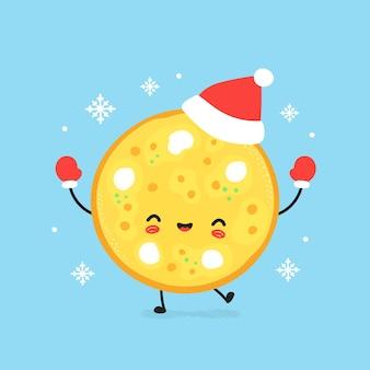 Nette lächelnde glückliche pizza im weihnachtshut und in den handschuhen