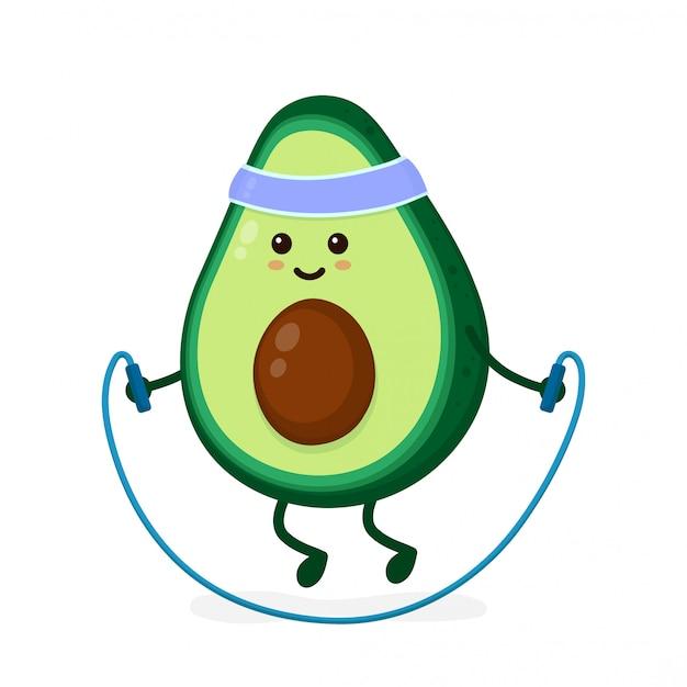 Nette lächelnde glückliche starke avocado mit springendem seil. flache cartoon charakter abbildung symbol. lokalisiert auf weiß. avocado, turnhallenlebensstil, sportsprungseil, gesundheit, eignungsnahrung