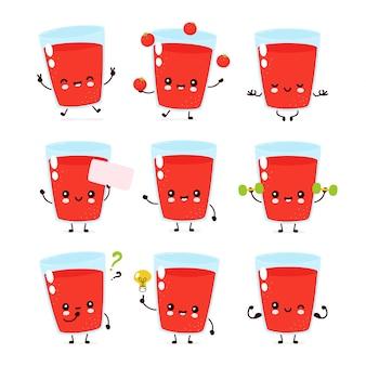 Nette lächelnde glückliche tomatensaftglasset-sammlung. flache zeichentrickfigur abbildung.isoliert auf weißem hintergrund. tomatenglas maskottchen bündel charakter konzept