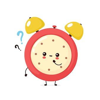 Nette lächelnde glückliche weckeruhr mit fragezeichen