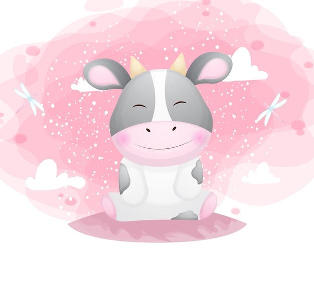 Nette lächelnde kleine kuh