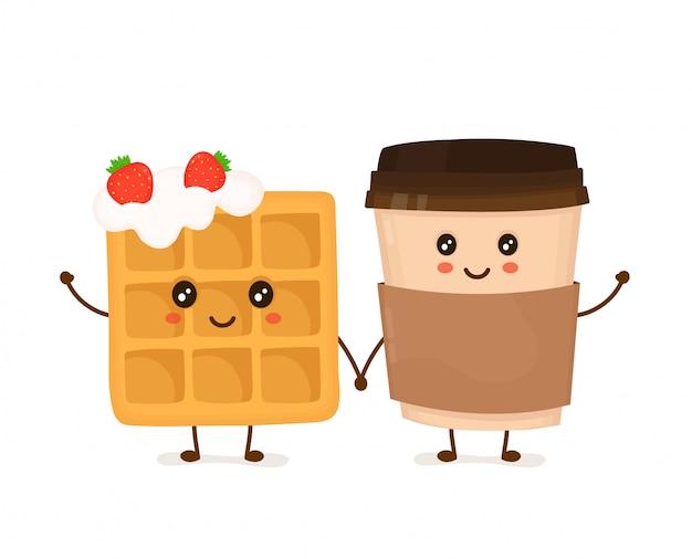 Nette lächelnde lustige wiener waffel mit schlagsahne und erdbeeren und kaffeetasse.