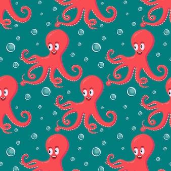 Nette lächelnde rote krake, die unter wasser schwimmt
