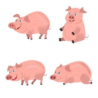 Nette lächelnde schweine, die im schlamm spielen.