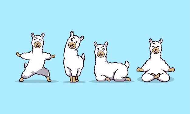 Nette lama-maskottchen-vektorillustration