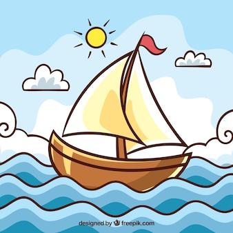 Nette landschaft mit boot und wellen