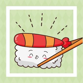 Nette lebensmittelillustration der kawaii schnellimbiss-sushi