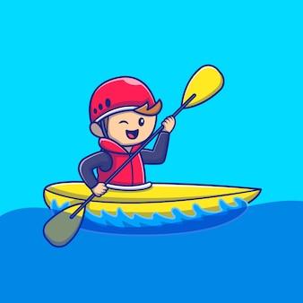 Nette leute, die kajak-karikatur-symbol-illustration spielen. people sport icon konzept isoliert premium. flacher cartoon-stil