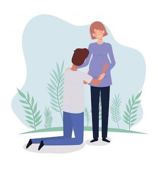 Nette liebhaber verbinden schwangerschaftscharaktere in der landschaft