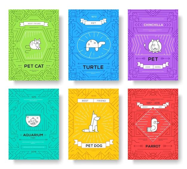 Nette linie broschüren-kartensatz der netten heimtiere. tierschablone von flyear, zeitschriften, plakaten
