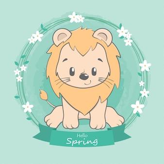Nette löwehallo frühlingskarikaturhand gezeichnet