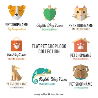 Nette logos für ein haustier-shop mit verschiedenen tieren