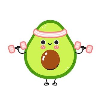 Nette lustige avocado machen fitnessstudio mit hanteln.