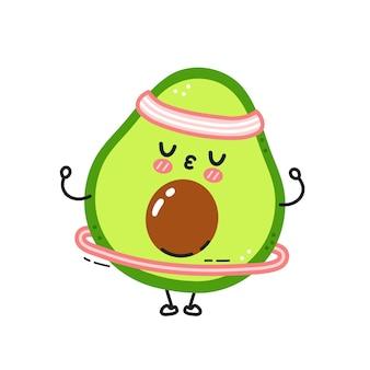 Nette lustige avocado machen turnhalle mit hula hoop