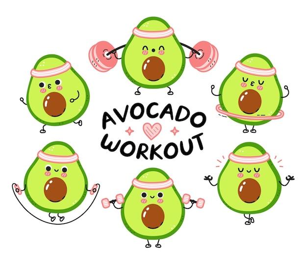 Nette lustige avocado machen turnhalle set sammlung.