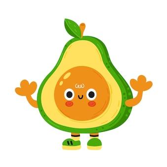 Nette lustige avocado mit babygesicht. vektor-cartoon kawaii charakter abbildung kinder emoji-symbol. isoliert auf weißem hintergrund. avocado-kind-keto-poster, karten-cartoon-charakter-maskottchen-konzept