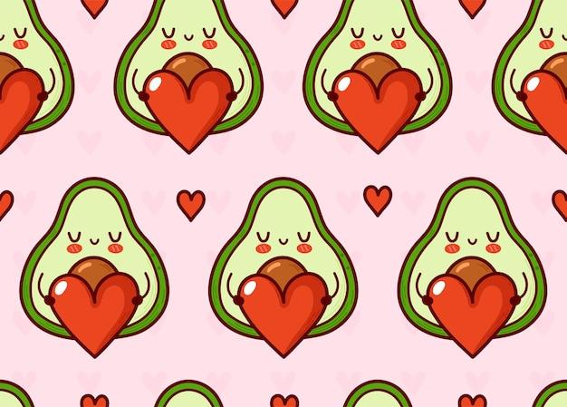 Nette lustige avocado mit herz nahtlosem muster.
