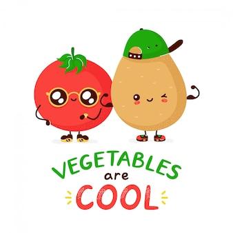 Nette lustige glückliche tomate und kartoffel. zeichentrickfigur illustration