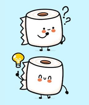 Nette lustige glückliche weiße toilettenpapierrolle mit fragezeichen und ideenglühbirne