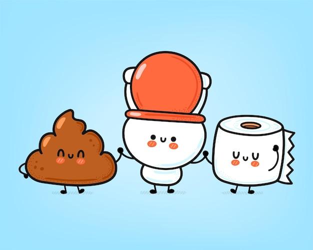 Nette lustige glückliche weiße toilettenschüssel, papierrolle und kot